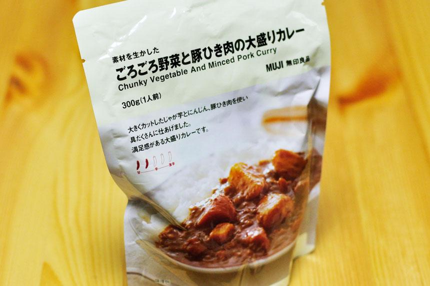 ごろごろ野菜と豚ひき肉の大盛りカレー 無印良品 パッケージ