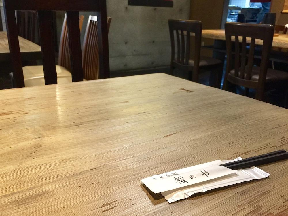でかい4人がけのテーブルに1人。